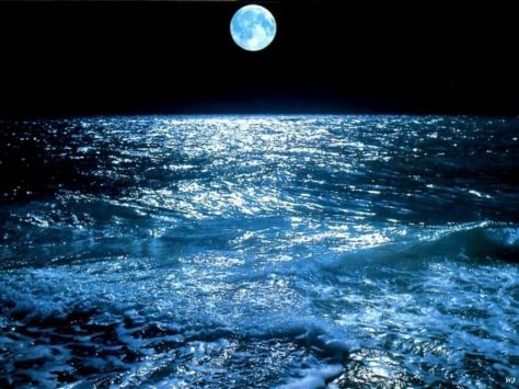 moon over sea
