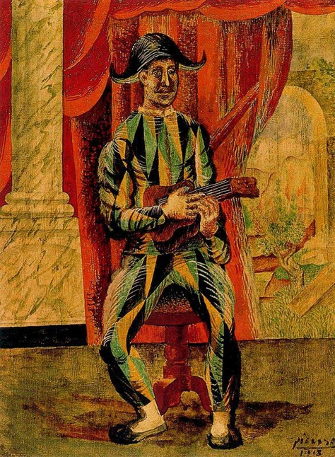 harlequin with guitar - 1918  Pablo Picasso